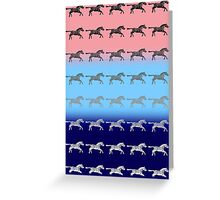 Zebras on a Background of Pink Blue and Violet Greeting Card