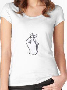 Korean Finger Heart Women's Fitted Scoop T-Shirt