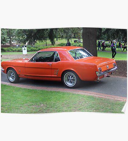 Orange Vintage Car. Poster