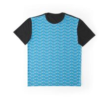 Blue Art Deco Scale Pattern Graphic T-Shirt