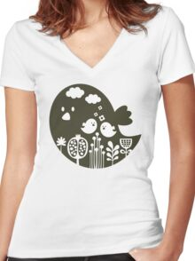 Birds and grass Women's Fitted V-Neck T-Shirt