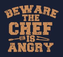 BEWARE THE CHEF IS ANGRY with tongs distressed Kids Clothes