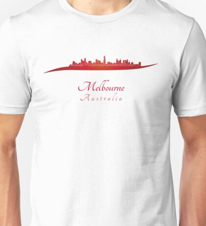 Melbourne skyline in red Unisex T-Shirt