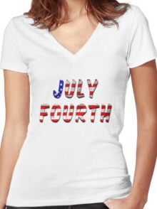 July Fourth Words With USA Flag Texture Women's Fitted V-Neck T-Shirt