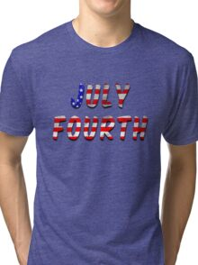 July Fourth Words With USA Flag Texture Tri-blend T-Shirt