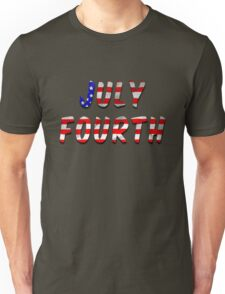 July Fourth Words With USA Flag Texture Unisex T-Shirt