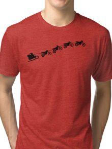 Christmas sleigh from flying dirt bikes Tri-blend T-Shirt