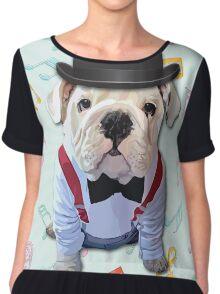 Bulldog Hat Chiffon Top