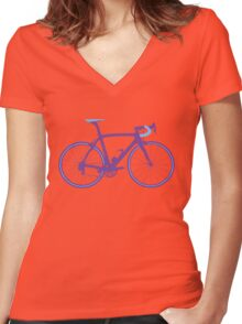 Bike Pop Art (Purple & Blue) Women's Fitted V-Neck T-Shirt