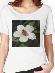 Bright White Hibiscus With a Ruby Red Heart Women's Relaxed Fit T-Shirt
