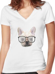 Dog with glasses Women's Fitted V-Neck T-Shirt