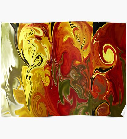 Abstract: Orange, Red, Yellow, Green Poster