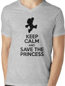 KEEP CALM AND SAVE THE PRINCESS Mens V-Neck T-Shirt
