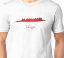 Chengdu skyline in red Unisex T-Shirt