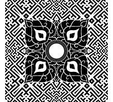 Sayagata 4 Warped Tiled Plus Thai Ornament 1 Photographic Print
