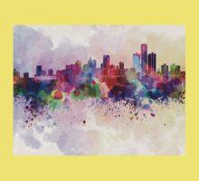 Detroit skyline in watercolor background Baby Tee