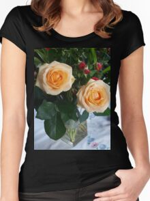Peach Roses Arrangement Women's Fitted Scoop T-Shirt