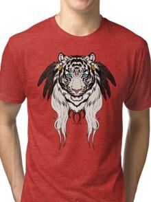 Tribal Tiger - White Tri-blend T-Shirt