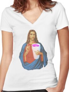 jesus leanin like a THUG Women's Fitted V-Neck T-Shirt