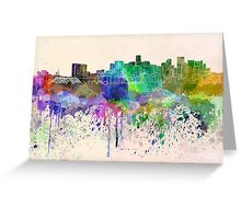 Denver skyline in watercolor background Greeting Card