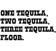 ONE TEQUILA, TWO TEQUILA, THREE TEQUILA, FLOOR. Photographic Print