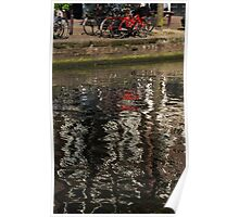 The Red Amsterdam Bicycle   Poster
