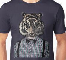 HIPSTER TIGER  Plaid Shirt Vintage Dictionary Art Beatnik Art Unisex T-Shirt