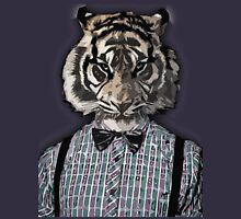 HIPSTER TIGER  Plaid Shirt Vintage Dictionary Art Beatnik Art Unisex T-Shirt