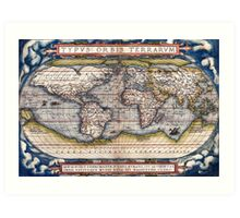 1564 World Map by Ortelius Art Print