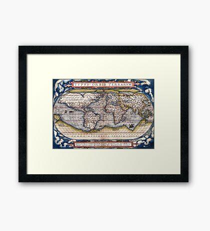 1564 World Map by Ortelius Framed Print