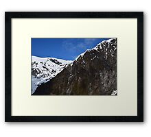 New Zealand Snow Covered Mountains Framed Print