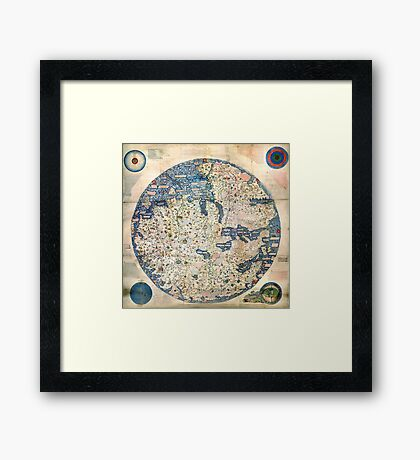 1458 World Map by Fra Mauro Framed Print