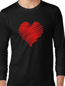 a red heart digital sketch, love is in the air. Long Sleeve T-Shirt