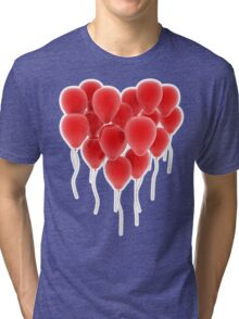 3D group of red balloon formimg a big heart shape Tri-blend T-Shirt
