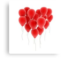 3D group of red balloon formimg a big heart shape Canvas Print