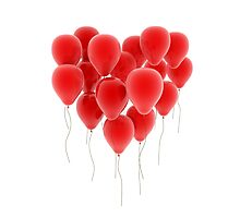 3D group of red balloon formimg a big heart shape Photographic Print