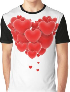 3D group of red hearts formimg a big heart shape Graphic T-Shirt