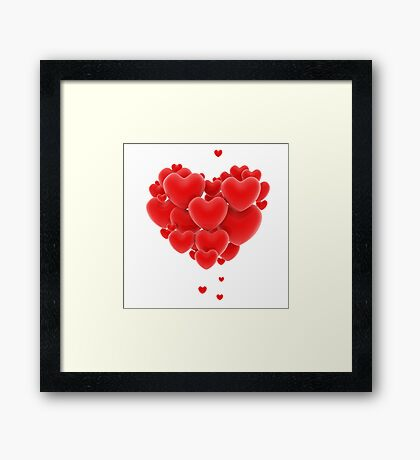 3D group of red hearts formimg a big heart shape Framed Print