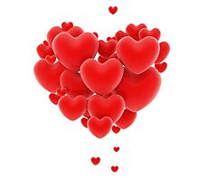 3D group of red hearts formimg a big heart shape Photographic Print