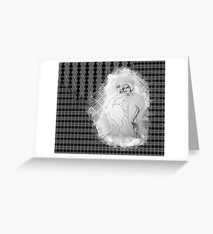 girl & skeleton patterns V Greeting Card