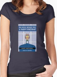 DOCTOR WHO OWL CARD (ADD A NAME) Women's Fitted Scoop T-Shirt