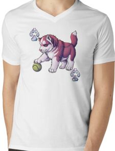 Husky Puppy Mens V-Neck T-Shirt