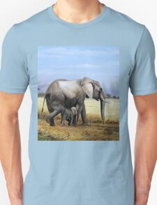 Mothers Love  Elephant and her Calf oil painting gifts Unisex T-Shirt