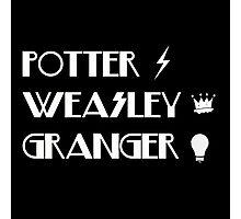 Potter, Weasley, Granger Photographic Print