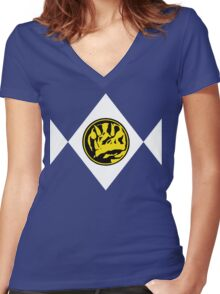Mighty Morphin Power Rangers Blue Ranger 2 Women's Fitted V-Neck T-Shirt