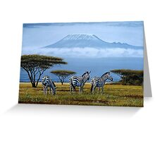 Beautiful art designs of Zebras at the foot of Mt. Kilimanjaro Greeting Card