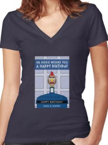 DOCTOR WHO MATT SMITH OWL CARD (ADD A NAME) Women's Fitted V-Neck T-Shirt