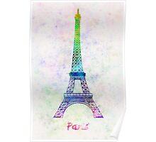 Paris Landmark Tour Eiffel in watercolor Poster