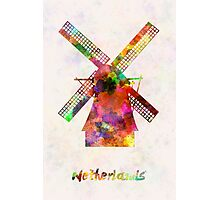 Netherlands Landmark Mill in watercolor Photographic Print