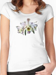 White Cattleya Orchids Women's Fitted Scoop T-Shirt